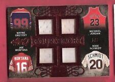 MICHAEL JORDAN JOE MONTANA WAYNE GRETZKY GAME USED JERSEY CARD #1/3 MIKE SCHMIDT