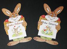 2 Geschenkaufkleber Ostern, Hase mit Korb und aufrechten Ohren