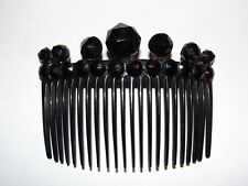 Victorian Black Celluloid Hair Comb w/ Faceted Jet Circular Studs