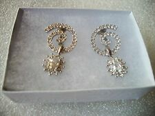 NOLAN MILLER Clear Crystal Silvertone Earrings NWOT EXQUISITE Clip Ons BLING