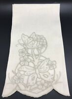 Vintage Ivory Linen Guest Hand Towel with Butterfly Floral Embroidery (RF811)