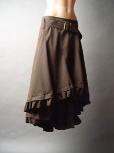 Steampunk Western Victorian Prairie Asymmetric Brown Riding 236 mv Skirt S M L