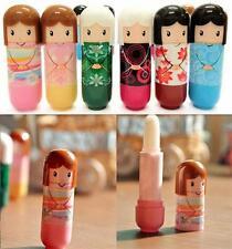 3pcs Novelty Japanese Kimono Geisha Doll Lip Balm Gloss Solid Stick Moisturiser