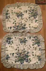 NEW Pair Vintage Waverly Standard Pillow Sham Blue Green Ivy Floral Sweet Violet