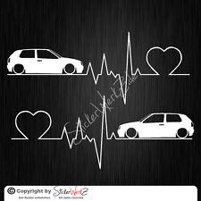 0605 | Herzschlag Golf 3 Satz Aufkleber | Sticker VW