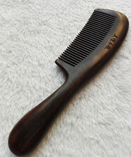 20.5cm Natural Ebony Wood Unisex Fine-toothed Thickening Handle Massage Comb