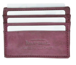 Genuine Leather Men's Thin Wallet Credit Card Flat Front Pocket Bill Fold Holder