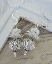 Lucky Scottish Thistle Earrings - Silver Plated - Crystal Glass Beads