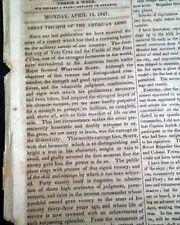 Siege of VERA CRUZ Mexican War General Winfield Scott Santa Anna 1847 Newspaper