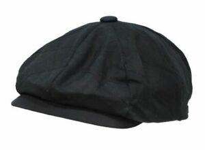 Men's Newsboy Cap Rainproof Black Quilted 100% Cotton Waxed Quality