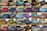 Indian Mandala Room Decor 3Pc Queen Bed Sheet Set Flat Sheet Bed Cover Bedspread