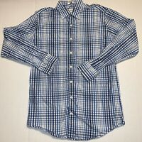 Peter Millar Plaid Blue/White Button Down Long Sleeve Shirt Mens Size Medium M