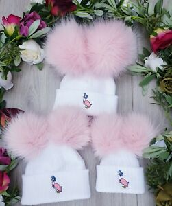 BABY LUXURY FAUX FUR DOUBLE POM HAT PINK POMS JEMIMA PUDDLE DUCK  PETER RABBIT