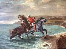 Eugène Delacroix Chevaux sortant de la mer grande lithographie 1958 Cheval