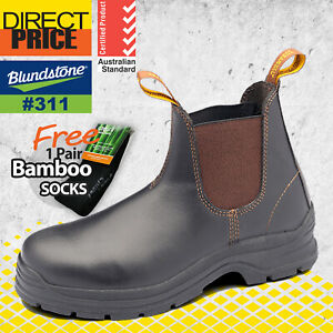 Blundstone Mens Work Boots Safety Brown elastic side Slip on TPU outsole 311