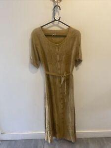 Vintage Embroidered Bohemian Boho Gypsy Button Down Maxi Dress Sz 12 14 16