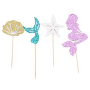 24Pcs Mermaid Theme Kids Party Glitter Cupcake Topper Cake Pick Decoration WT