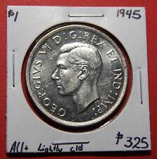 1945 Canada Silver One Dollar Coin BI380 - $325 AU+ Lightly cld - Key Date!