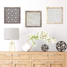 Distressed Rustic Chic Square Lattice Pattern Wood Metal Wall Art Panel Set/3
