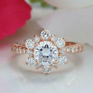 1.5 Ct Round cut Snowflake Diamond Women's Engagement Ring 14k Rose Gold finish