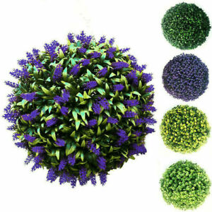 Artificial Hanging Topiary Lavender Balls Faux Box Wood Plant Garden Patio DeckY