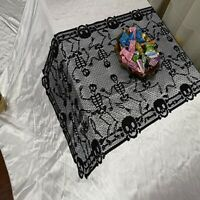 Black Halloween Lace Skull Table Runner Tablecloth Home Party Table Cover D