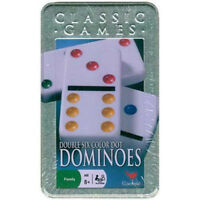 NEW IN TIN BOX - Cardinal Classic Games Double Six Color Dot Dominoes Set