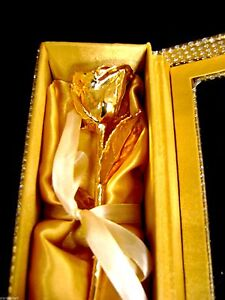 """WEDDING/ANNIVERSARY/BIRTHDAY 24K Gold Dipped 6""""Real Rose in Gold Egyptian Casket"""