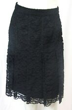 St. John Couture Knits 10 M Floral Lace Skirt Black A-line Pleated Illusion Hem