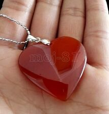 New Fashion Women's Natural Red Jade Gemstone Heart Shape Pendant Necklace