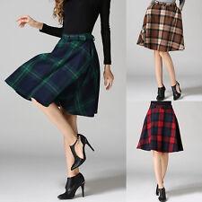 Women High Waist Tartan Winter Wool Blend A Line Midi Skirt Plaids Checks Skirt