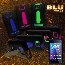 For BLU Vivo 4.3 - Tough Hybrid Kickstand Dual Layer Phone Cover Case