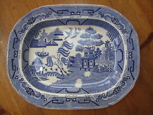 Staffordshire willow pattern meat platter plate blue white antique