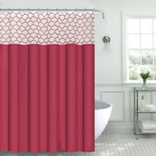 Empire Red Faux Silk Fabric Shower Curtain Red Embroidered Trellis Sheer Panel