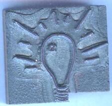 1940s-50s Shiny Light Bulb indicates GOOD, BRIGHT IDEA printers block line cut