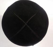 Black Leather Suede Kippah Yarmulke Jewish Kippa Flat Yamaka Kipah,