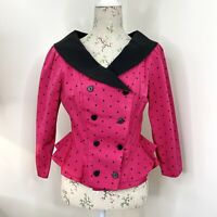 Vintage 80s ARC Sydney Womens Top Blouse Pink Polka Dot Long Sleeve Size 10