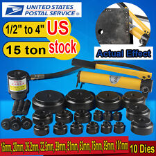 """US 15ton 1/2"""" to 4"""" Hydraulic Knockout Punch Kit Hand Pump 10 Dies Tool Hydra"""
