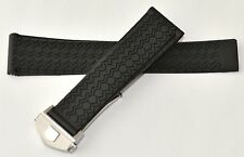 22mm for Tag Heuer Carrera Monaco Silicon Rubber Band Strap w/ Deployment Clasp