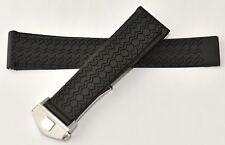 22mm Carrera Monaco Silicon Rubber Band Strap w/ Deployment Clasp for TAG Heuer