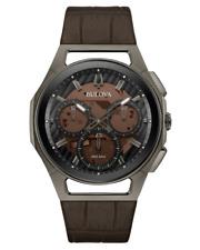 New Bulova Men's Curv 98A231 Chronograph Titanium 44mm Case Leather Watch