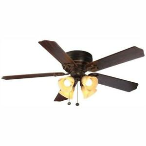 Carriage House 52 in. LED Indoor Iron Ceiling Fan with Light Kit by Hampton Bay