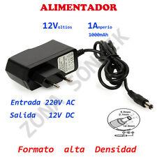 Alimentador 12V - 1A (1000 mA), Transformador de 220V AC a 12V DC .Alta densidad