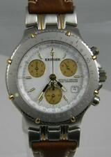 Krieger Velocita Chronograph Chronometer 18k Gold and SS Leather New Authentic