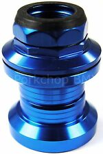 """Aluminum alloy old school BMX bicycle headset 1"""" threaded 32.5mm cups BLUE"""