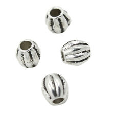 100x Hot Antique Silver Tone Alloy Vertical Stripe Carved Charm European Beads L