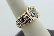 10K Two Tone Gold 0.75ct Diamond Cluster Watch Band Style Men's Ring - Size 9.75