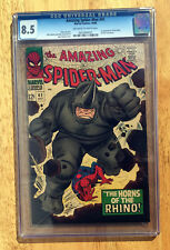 THE AMAZING SPIDER-MAN 41 - 1st APP RHINO - CGC 8.5 UNIVERSAL GRADE - OW/W PAGES