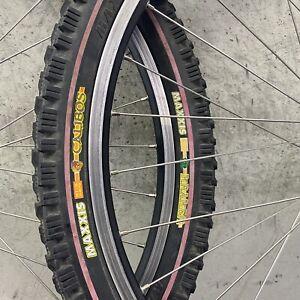"Vintage MTB Wheel Set 26"" Mavic X221 36h Rim Shimano M510 Kraken Calibos Redline"