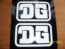 """Vintage Looking  (Set of Two) 2""""X 4"""" DG (White ONLY! Vinyl STICKERS) L@@K"""